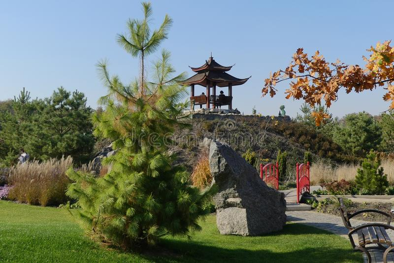 Autumn in Sakur Park sets up for the contemplation of beauty and tranquility, relaxation and peace. royalty free stock images