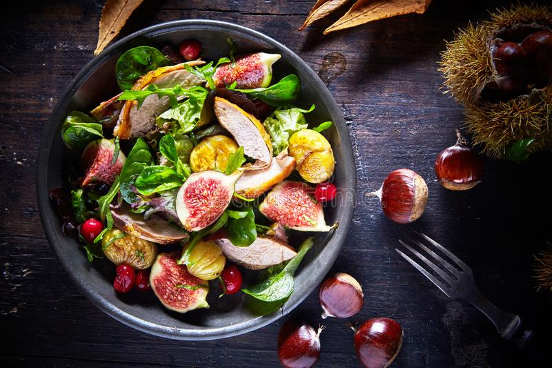 Autumn salad with pheasant, figs and chestnuts stock photo