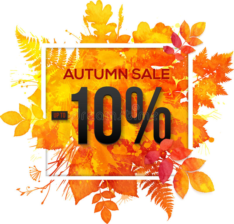 Free Autumn Sale 10 Percent Discount Banner Royalty Free Stock Image - 59080116