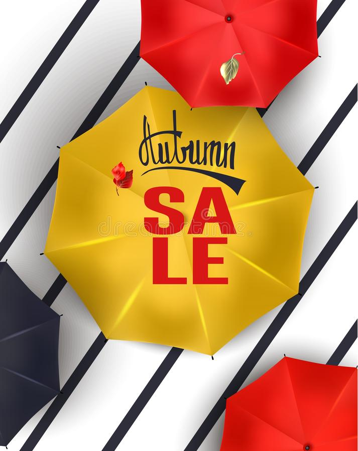 Autumn sale announcement banner with colorful umbrellas view above. Vector illustration stock illustration