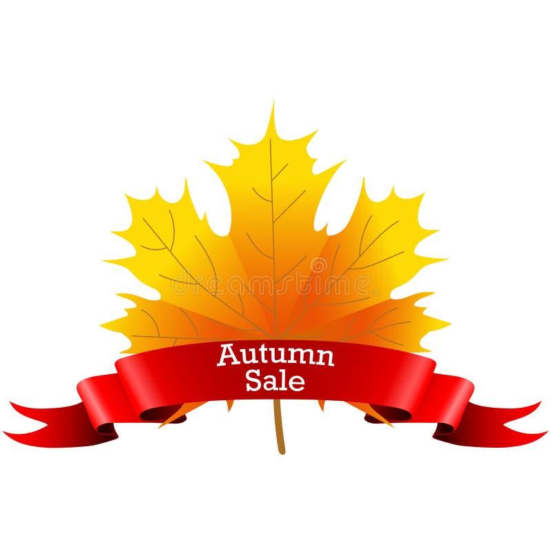 Autumn Sale auf einem Ahornblatt vektor abbildung