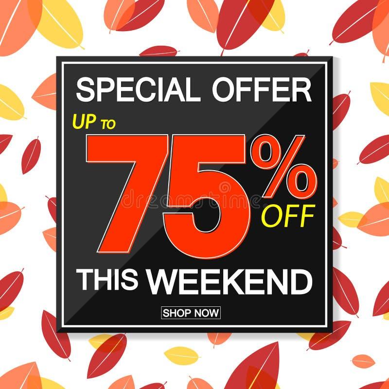 Autumn Sale 75% av, affischdesignmall, slut av säsongen, vektorillustration stock illustrationer