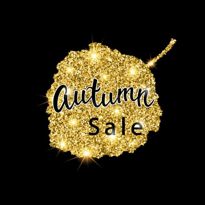 Autumn Sale-Bürstenbeschriftung Goldfunkeln-Fahnendesign mit Scheinen auf schwarzem Hintergrund Saisonrabattfallplakat stock abbildung