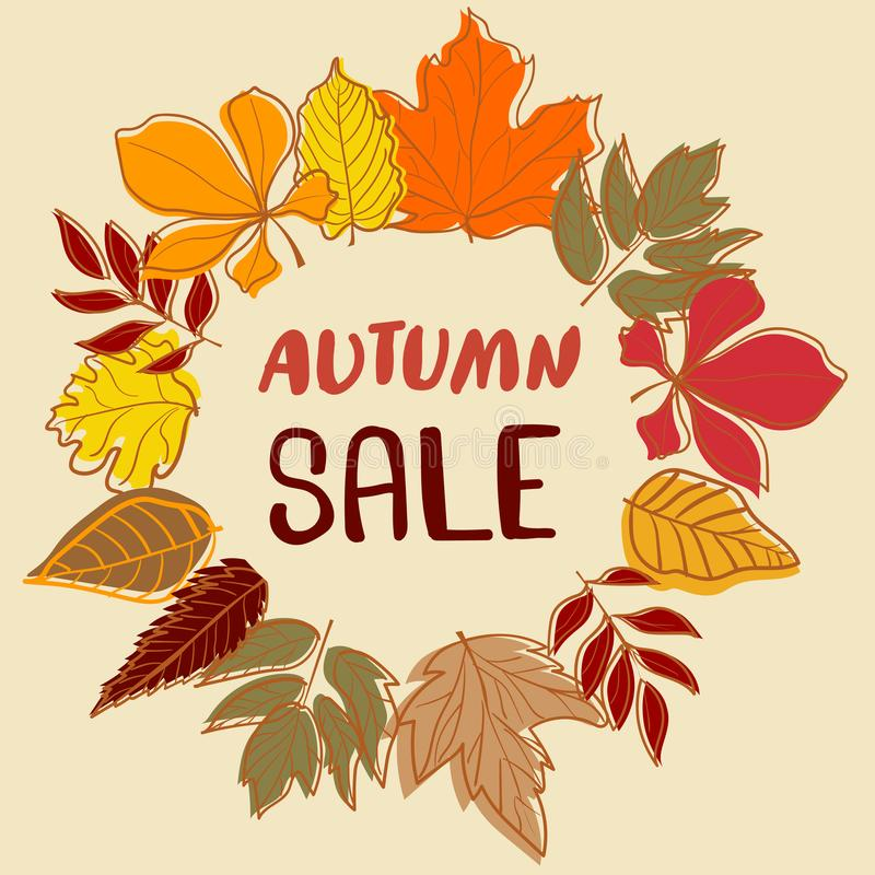 Autumn Sale backdrop with colourful leaves royalty free illustration