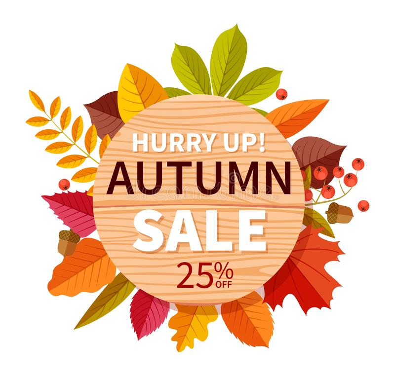 Autumn sale background. Autumnal seasonal shopping offer discount banner, promotion price flyer. Colorful fall leaves royalty free illustration