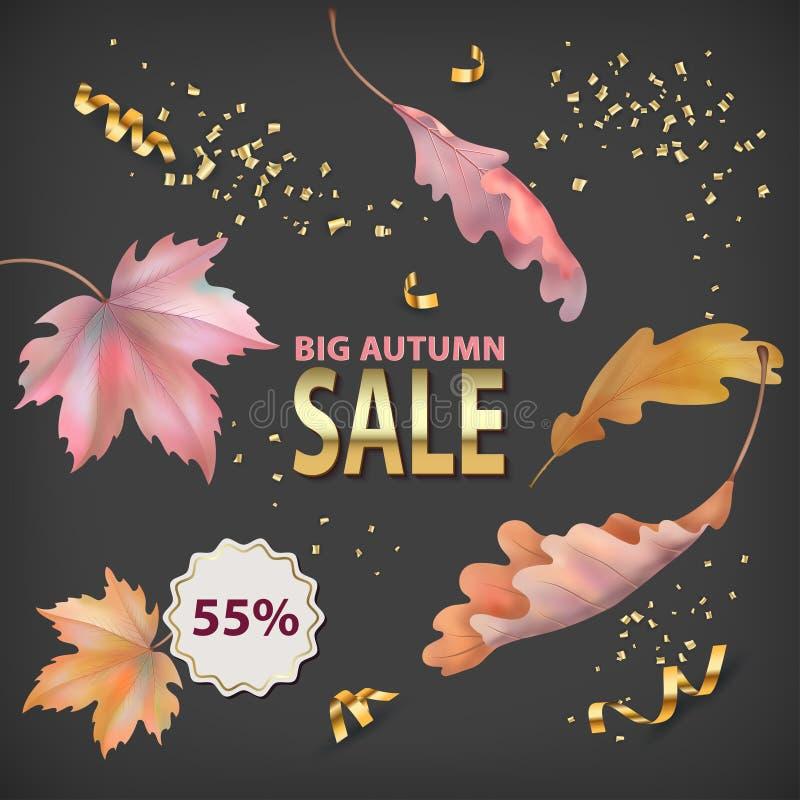 Autumn sale background vector illustration