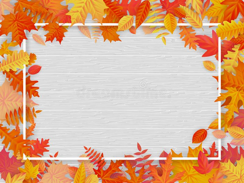 Autumn sale background layout in frame from leaves. Shopping sale or promo poster and frame leaflet or web banner. EPS vector illustration