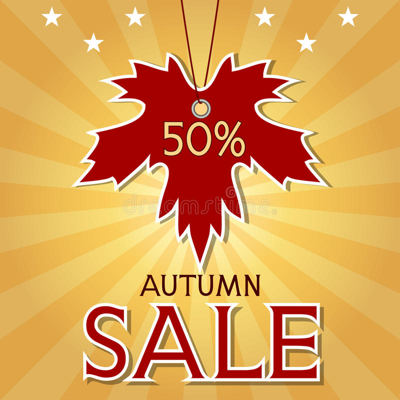 Download Autumn Sale Background With Maple Leaf And Rays. Stock Photos - Image: 33432823