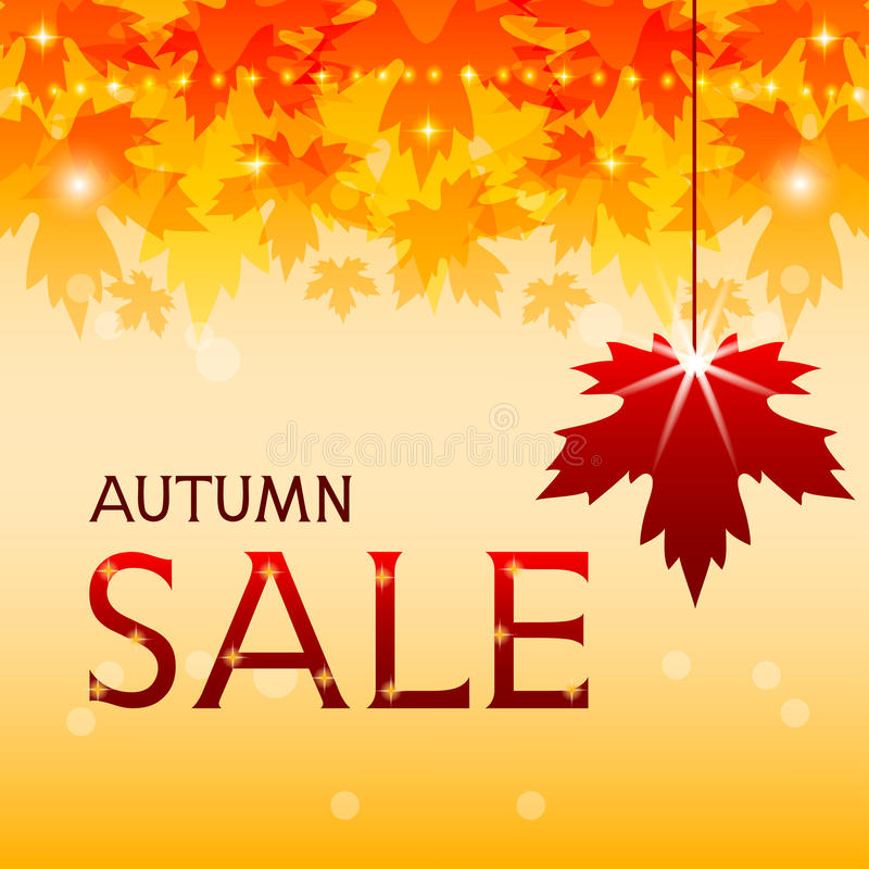 Autumn sale background with maple leaves. Autumnal poster with maple foliage, red leaf and inscription autumn sale. Fall discount. Vector illustration stock illustration