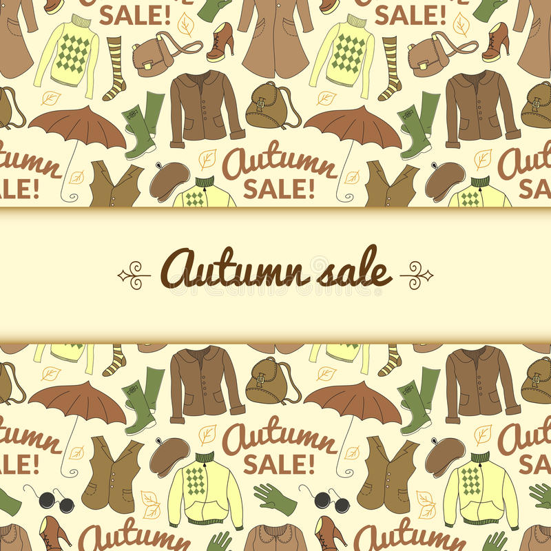 Autumn sale background with season women clothes vector illustration
