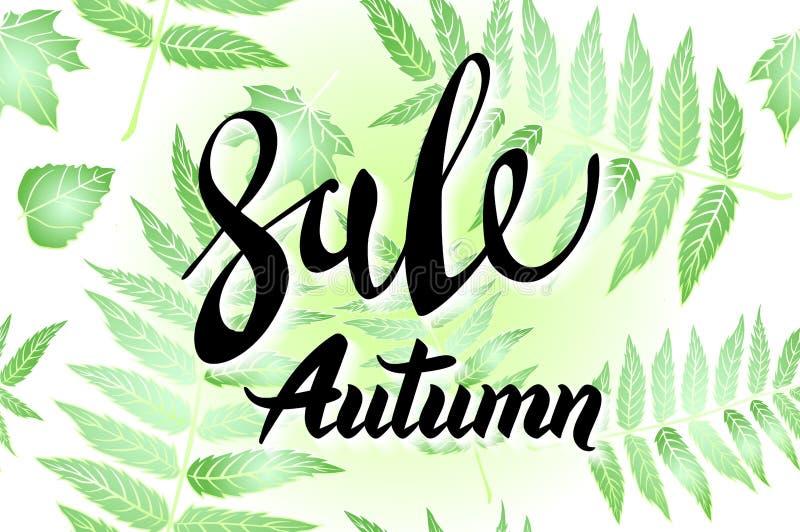 Autumn Sale banerdesign, med utdragen bokstäver för hand, i en ram som utgöras av målade skelett- sidor, på mörkt - grön bakgrund royaltyfri illustrationer