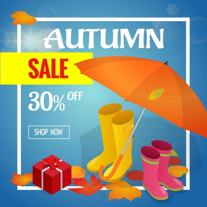 Autumn sale banner. Autumn sale flayer Design for shop. Autumn sale online store. Autumn sale Discount up to 30 off. Autumn sale banner. Autumn sale flayer royalty free illustration