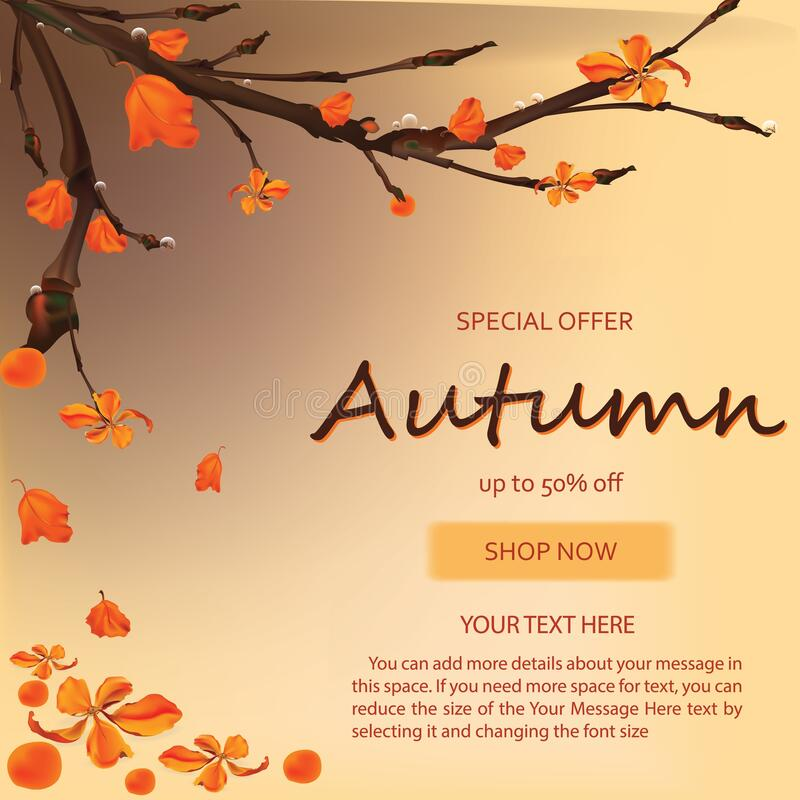 Autumn sale banner background with fall leaves banner for shopping sale or promo poster and frame leaflet or web banner.Vector vector illustration