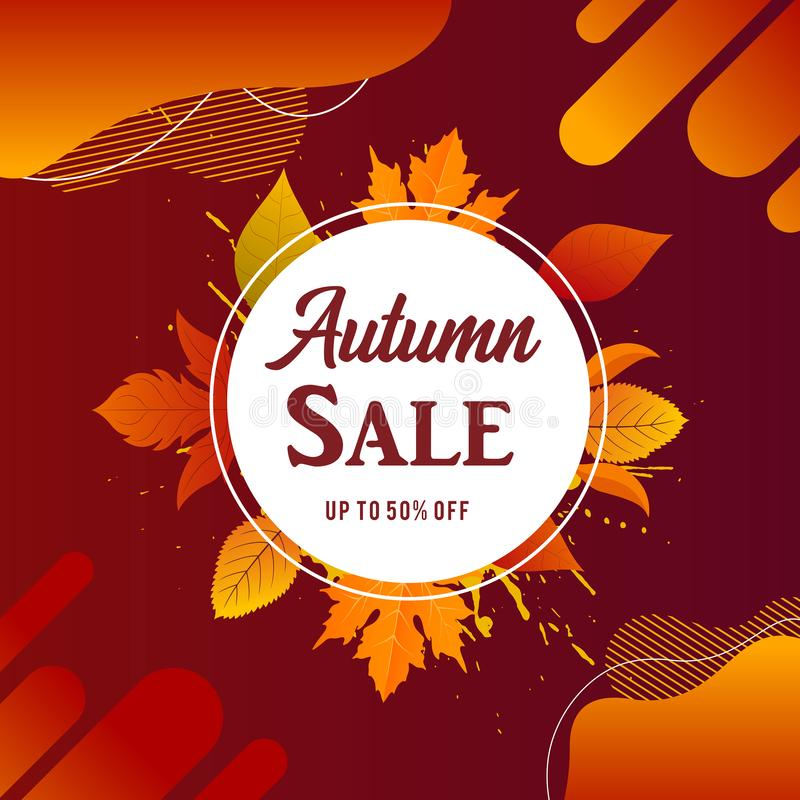 Autumn sale banner background with fall leaves Vector. Autumn sale flyer template with lettering. Bright fall leaves. Poster, card, label, banner design. Bright vector illustration