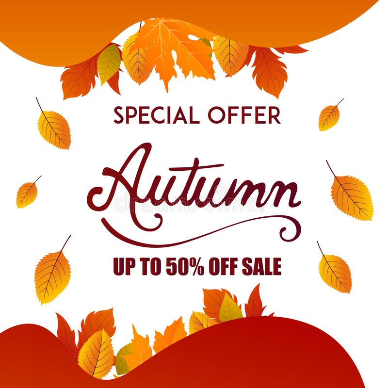 Autumn sale banner background with fall leaves Vector. Autumn Fall Season Sale Ad Banner With Colorful fall leaves and advertising discount text Vector royalty free illustration
