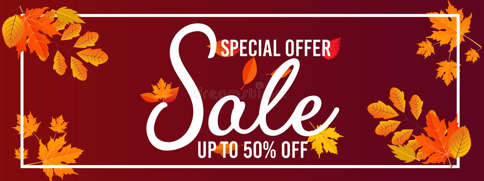 Autumn sale banner background with fall leaves Vector. Autumn Fall Season Sale Ad Banner With Colorful fall leaves and advertising discount text Vector stock illustration