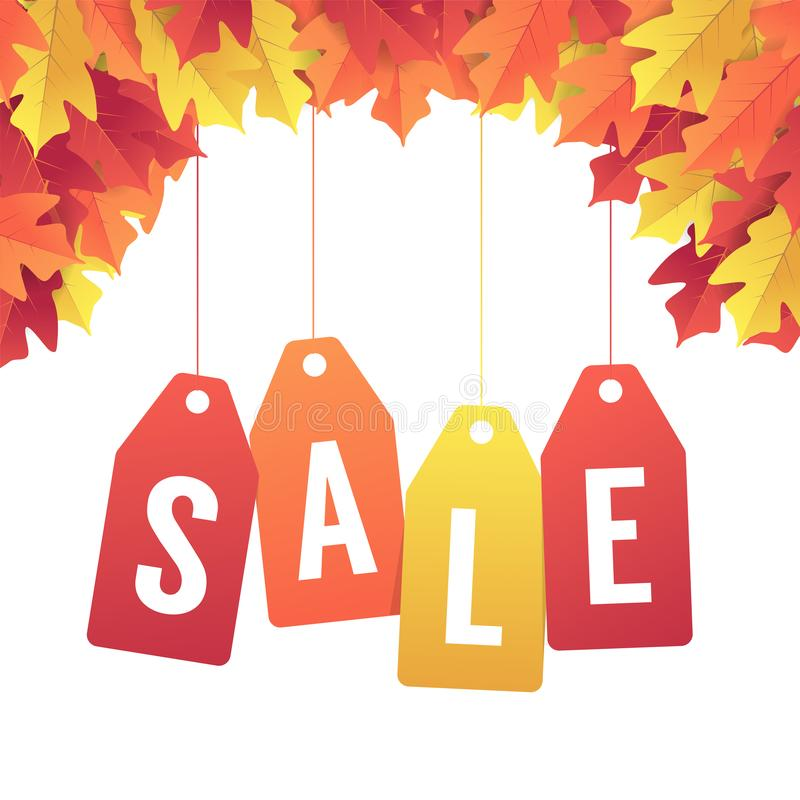 Autumn sale banner with colorful fall leaves. Colorful autumn red and yellow leaves background. vector illustration