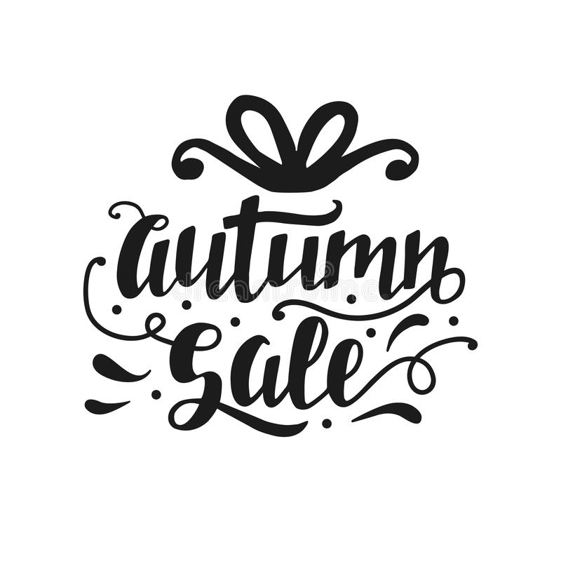 Autumn Sale banner with cute unique hand lettering stock illustration
