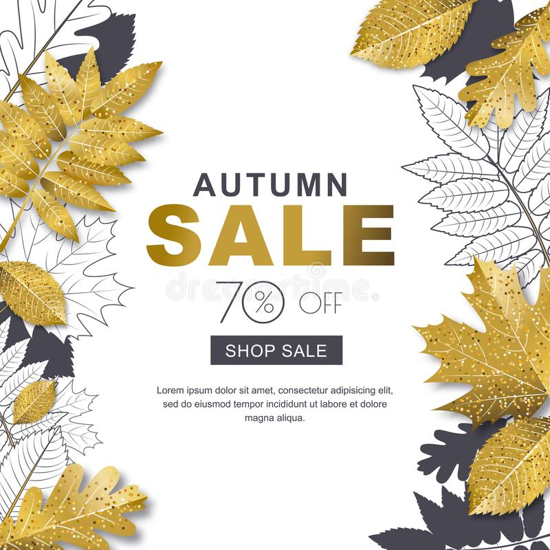 Autumn sale banner with 3d style gold and outline autumn leaves. Vector fall poster golden background. Layout for discount labels, flyers and shopping royalty free illustration