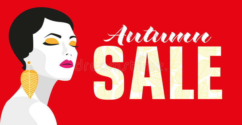 Autumn sale. Banner. Fashion girl. Bold, minimal style. Pop Art. OpArt, positive negative space and colour. Trendy vector illustration