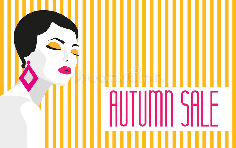 Autumn sale. Banner. Fashion girl. Bold, minimal style. Pop Art. OpArt, positive negative space and colour. Trendy. Strips. Vector illustration - stock vector vector illustration