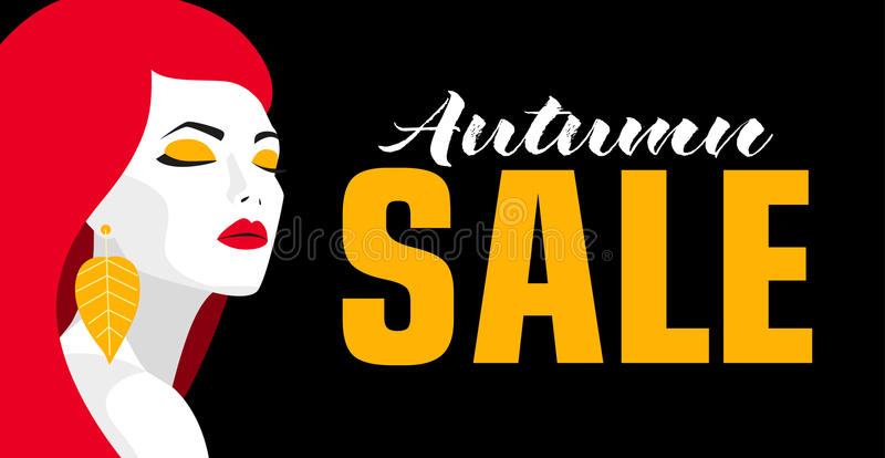 Autumn sale. Banner. Fashion girl. Bold, minimal style. Pop Art. OpArt, positive negative space and colour. Trendy. Strips. Vector illustration - stock vector royalty free illustration