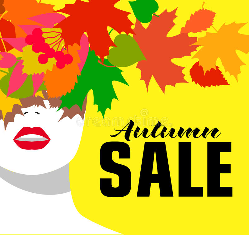 Autumn sale. Banner. Fashion girl. Colored leaves. Bold, minimal style. Pop Art. OpArt, positive negative space and stock illustration
