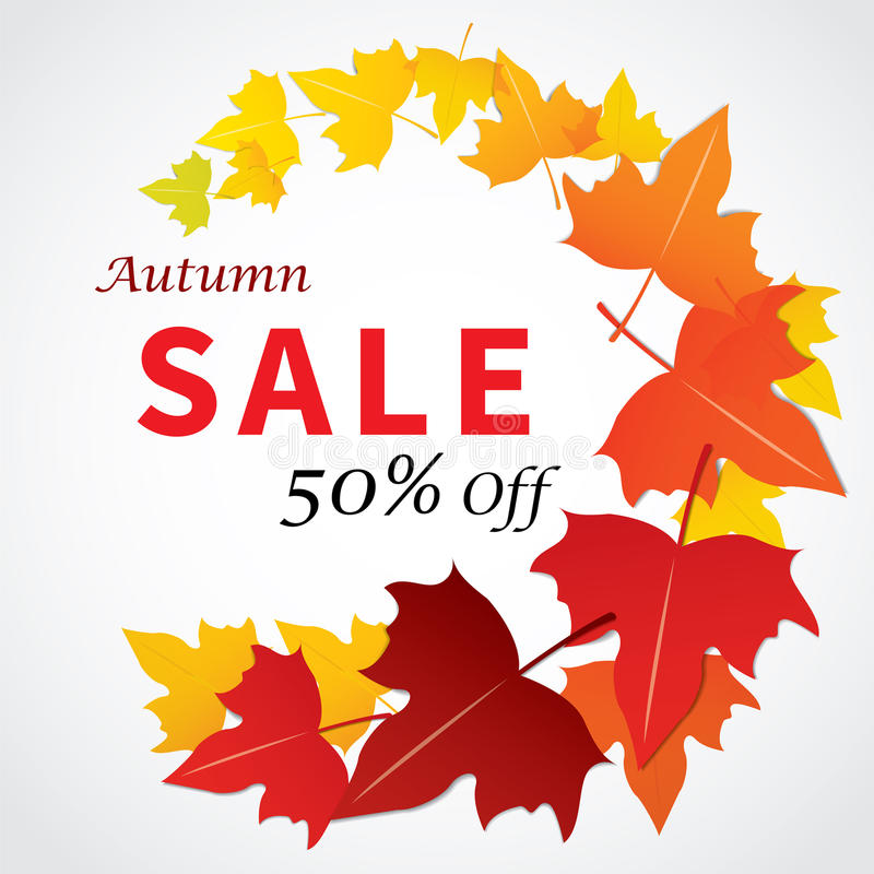 Autumn sale banner flat design for web and print royalty free illustration
