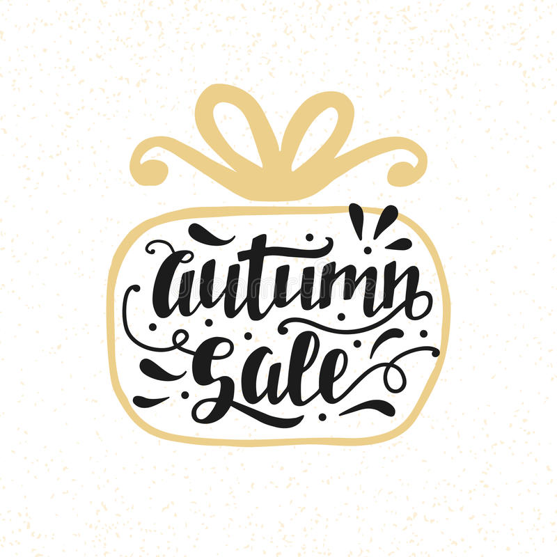Autumn Sale banner with hand lettering, inscription in gift box silhouette stock illustration