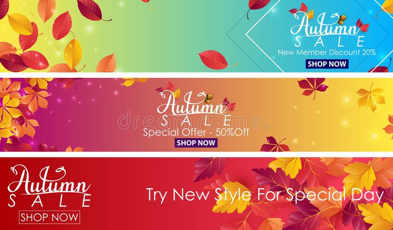 Autumn sale banner vector illustration