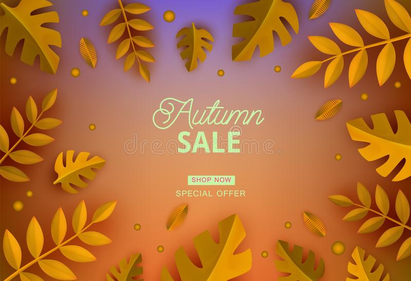 Autumn sale banner in paper art style with natural frame of different cut cardboard plant leaves and sign. royalty free illustration