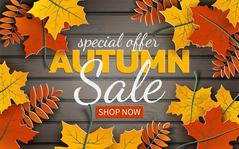 Autumn sale banner, paper colorful tree leaf maple, rowan on wood texture background. Autumnal design for fall season banner. Autumn sale banner, paper colorful royalty free illustration