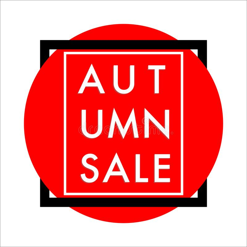 Autumn sale banner red circle framed vector stock illustration