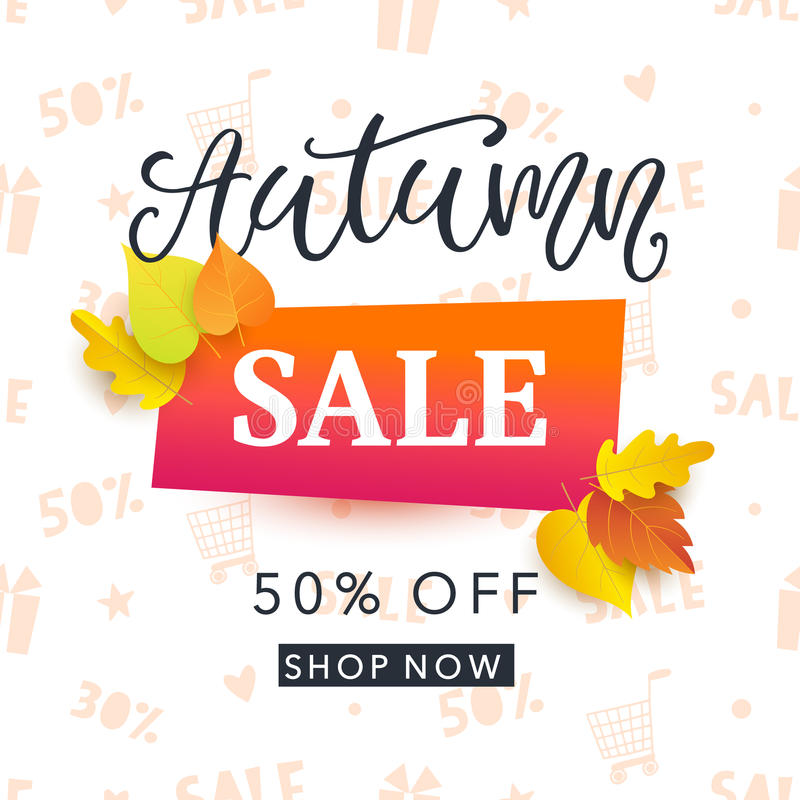 Autumn sale banner template with bright colorful fall leaves and hand written ink calligraphy stock illustration