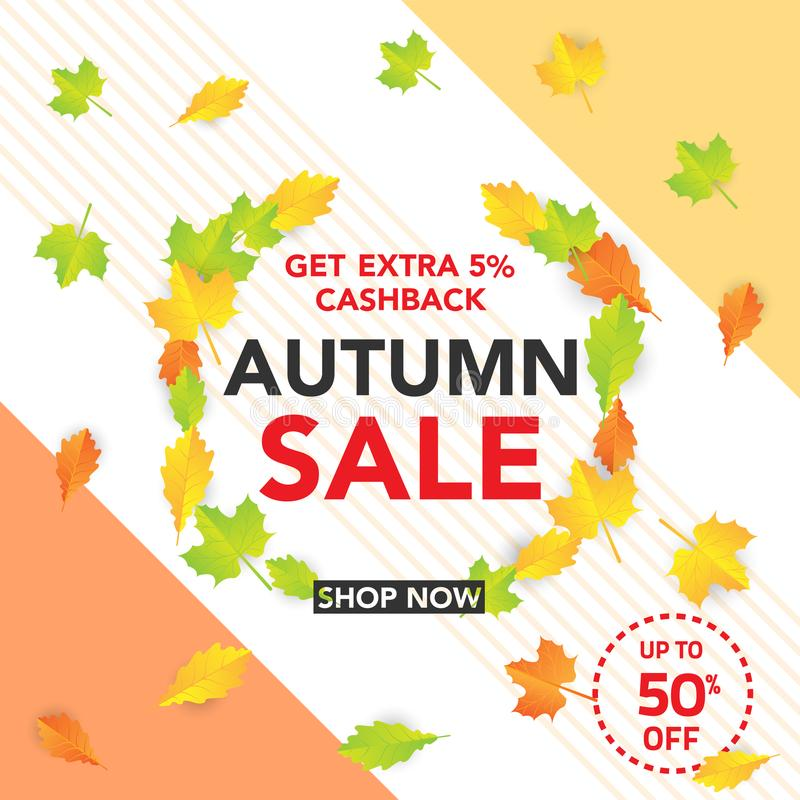 Autumn sale banner template with leaves, fall leaves for shopping sale. banner design. Poster, card, label, web banner. Vector ill. Ustration template design vector illustration