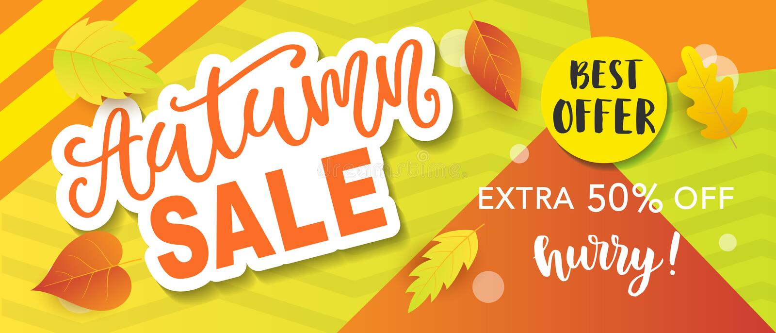 Autumn sale banner template royalty free illustration