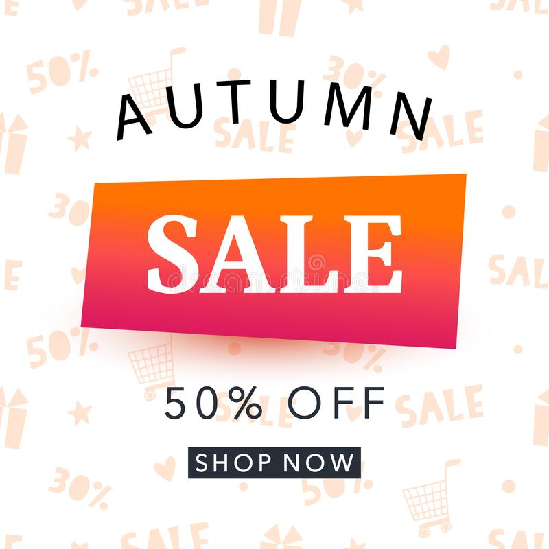 Autumn sale banner template. Shopping promotion vector illustration