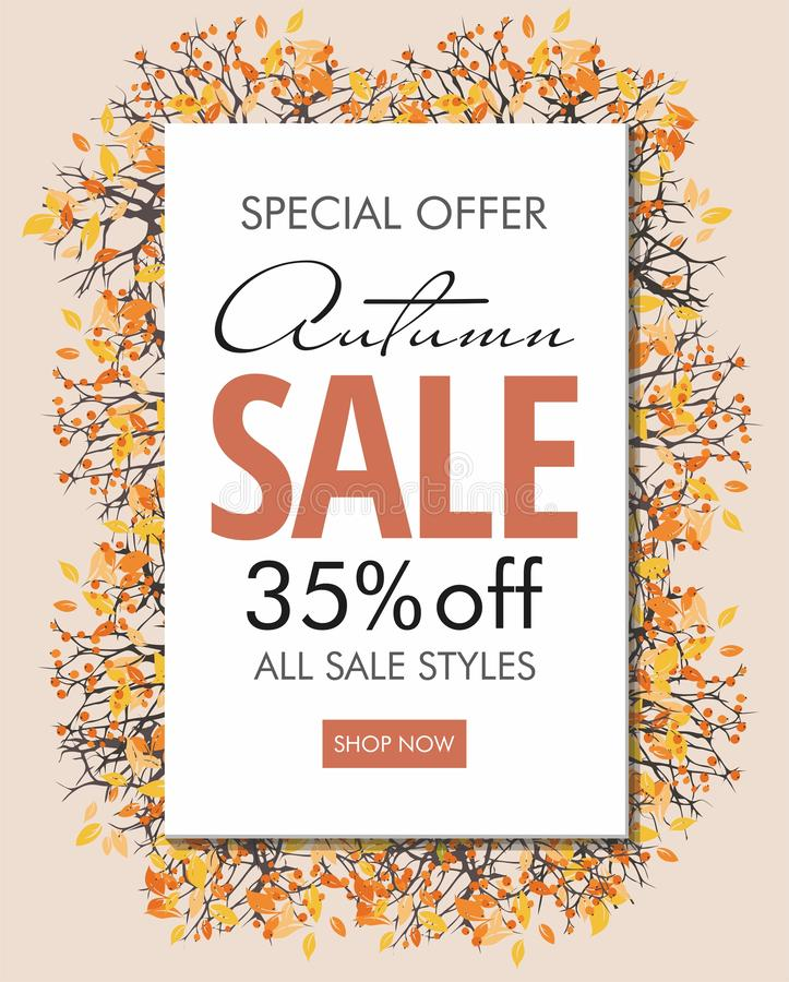 Free Autumn Sale Banner Template With Branches And Berries. Poster, Card, Label, Web Banner. Stock Photo - 159582830