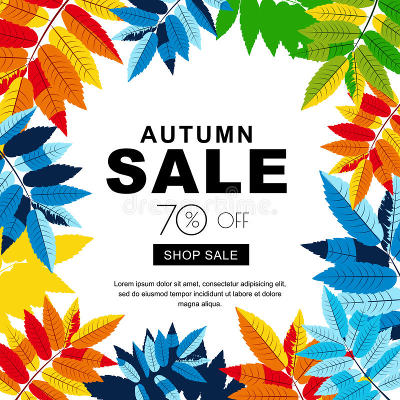 Autumn sale banners with multicolor autumn leaves. Vector fall poster background. vector illustration