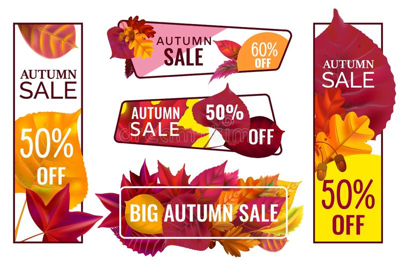 Autumn sale banners. Special discount banner with fallen leaves, season sales autumnal frames and fall price vector set royalty free illustration