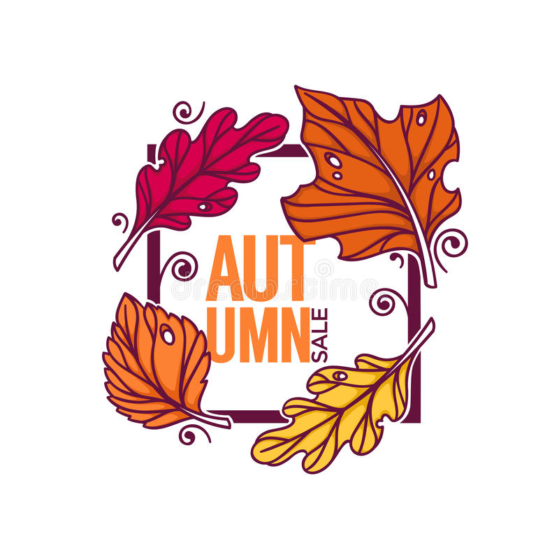 Autumn sale, bright fall leaves discount banner template. Doodle style royalty free illustration