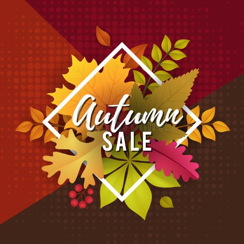 Autumn Sale com Autumn Leaves Poster Template Design ilustração do vetor