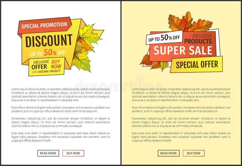 Autumn Sale Coupon, Promo especial da folha amarela ilustração royalty free