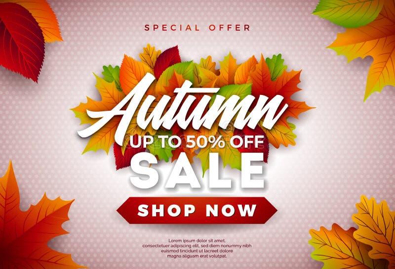 Autumn Sale Design con le foglie cadenti ed iscrizione sul fondo leggero Illustrazione autunnale di vettore con lo speciale illustrazione di stock