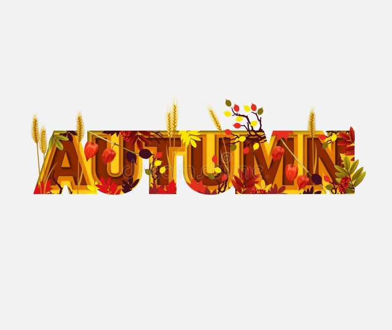 Autumn Sale Design con le foglie cadenti su fondo leggero Stile d'avanguardia del taglio della carta di origami Illustrazione aut illustrazione di stock