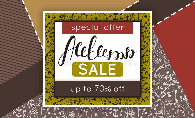 Autumn sale. Discount in fall. Floral pattern. Hand drawn creative flowers. Creative abstract background. Collage. Lettering. Flyer, advertising, banner royalty free illustration