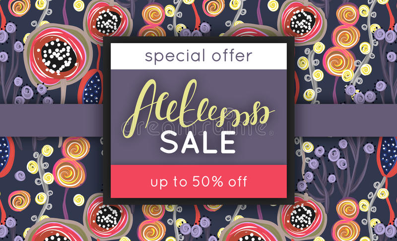 Autumn sale. Discount in fall. Floral pattern. Hand drawn creative flowers. Repeating background. Lettering. Flyer, advertising, banner signboard Vector royalty free illustration