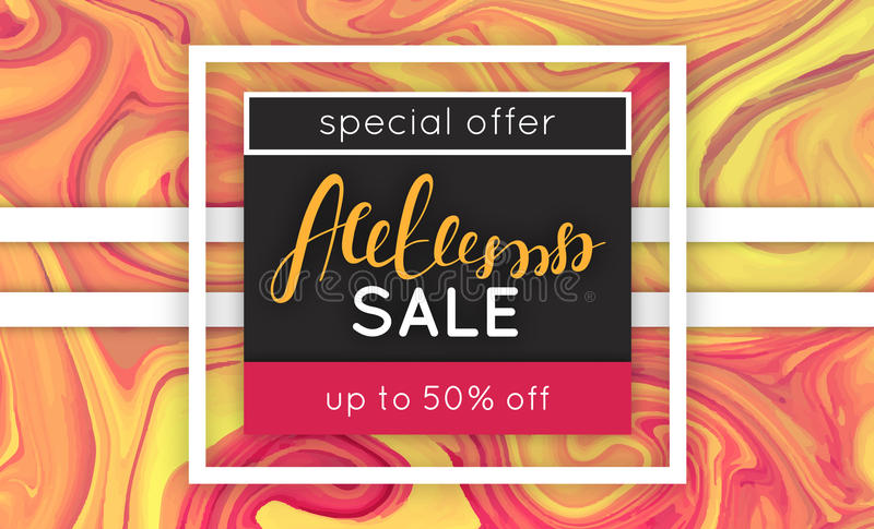 Autumn sale. Discount in fall. Marbling. Marble texture. Vector abstract colorful background. Paint splash vector illustration