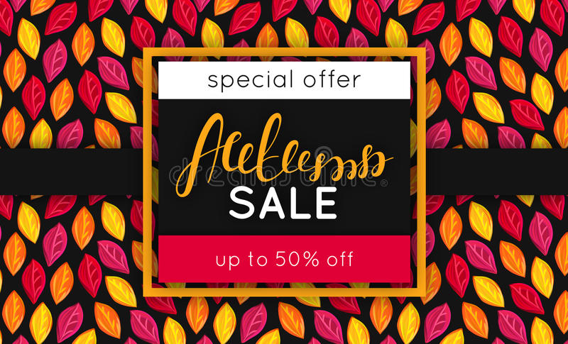 Autumn sale. Discount in fall. Special offer. Pattern with fallen colorful leaves. Repeating background. Lettering. Flyer, advertising, banner signboard Vector stock illustration