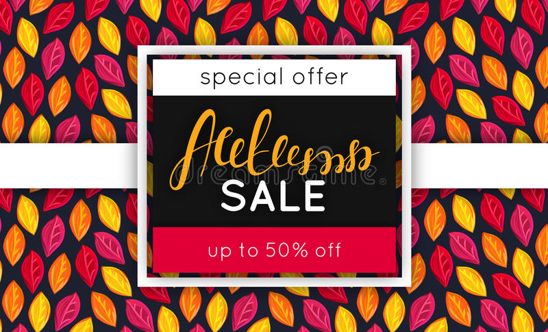 Autumn sale. Discount in fall. Special offer. Pattern with fallen colorful leaves. Repeating background. Lettering. Flyer, advertising, banner signboard Vector vector illustration